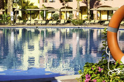 Beautiful blue swimming pool at the hotel. stock images