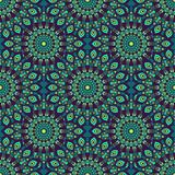 Beautiful blue, teal, green and purple oriental seamless pattern. Floral mandala design Royalty Free Stock Photography