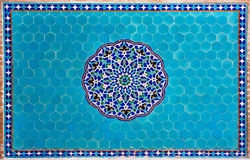 Beautiful blue tiled wall with patterns of Middle East in the historic home Royalty Free Stock Photo
