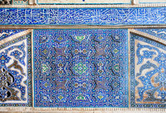Beautiful blue tiled wall with patterns of Middle East Stock Images