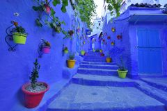 Beautiful Blue town in Africa Royalty Free Stock Photography