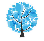 Beautiful Blue Tree on a White Background Vector Stock Photos
