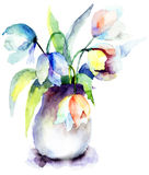 Beautiful Blue Tulips flowers. Watercolor painting Stock Images