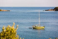 Beautiful blue water, beach in Croatia. Beautiful blue water on a sunny day, beach in Croatia Stock Photo