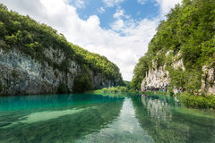 Beautiful blue water lake in Plitivice National Park Royalty Free Stock Image