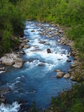 Beautiful blue water in the river in the green valle Stock Image