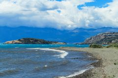 Lago General Carrera in Chile. Beautiful blue water and rocks lake and islands coast and cloudy sky. Lago General Carrera in Chile stock photography