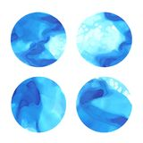 Beautiful blue watercolor abstract circle design elements. With water splashes and paint stains vector illustration