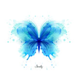 Beautiful blue watercolor abstract translucent butterfly on the white background.