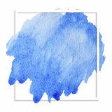 Beautiful blue watercolor stain. Watercolor  stain, abstract blue circle splash with splatters, paper texture, background for design, hand drawn illustration Stock Images