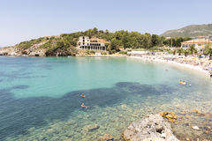Beautiful blue waters on the island of Samos, Greece Royalty Free Stock Photos
