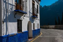 Beautiful blue and white house. Sacromonte Road. Camino del Sacromonte. Granada, Spain Royalty Free Stock Images