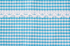 Beautiful blue and white tablecloth. Royalty Free Stock Image