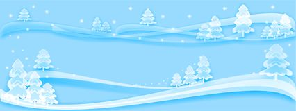 Winter backdrop light blue, snowy fairy forest & snowflakes, light, transparent like ice or glass, new. Very beautiful winter illustration turquoise, blue teal stock illustration
