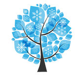Beautiful Blue Winter Tree with Snowflakes on a Stock Image