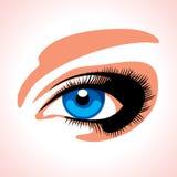 Beautiful blue womans eye. Womans girl blue beautiful eye Stock Photo