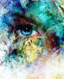 Beautiful blue women eye beaming, color desert crackle effect, painting collage Royalty Free Stock Photo