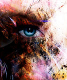 Beautiful blue women eye beaming, color spots effect, painting collage, phoenix makeup. Stock Photo
