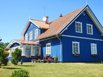 Beautiful blue wooden home, Lithuania Stock Image