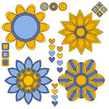 Beautiful blue and yellow flowers and hearts Royalty Free Stock Photos