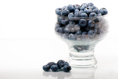 Beautiful blueberries in a glass bowl Stock Image