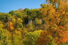 Beautiful Bluffs of Decorah. On the north side of Decorah are beautiful rocky tree filled bluffs Royalty Free Stock Photos