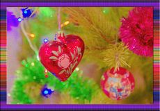 Beautiful blured christmas background with christmas tree and toys stock photos