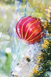 Beautiful blurred multicolored christmas background with bokeh stock photo