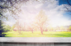 Beautiful blurred park or garden nature view from from balcony Royalty Free Stock Images