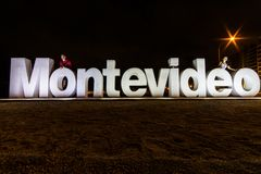 Beautiful boardwalk sign in Montevideo, Uruguay royalty free stock image