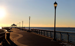 Beautiful boardwalk view at sunrise Stock Images