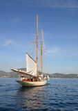 Beautiful boat. Beautiful sailing boat in mediterranean sea Royalty Free Stock Photos