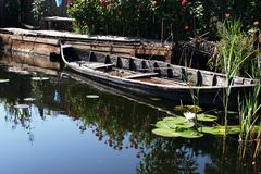 Beautiful boat abandoned in the Danube Delta Stock Photography