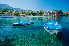 Assos beach in Kefalonia, Greece. Beautiful boat in Assos in island Kefalonia, Greece Royalty Free Stock Image