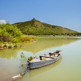Beautiful Boat in water on mountain background Stock Images