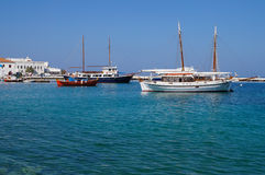 Beautiful boats in the marine bay on the island of Mykonos,Greece Stock Image