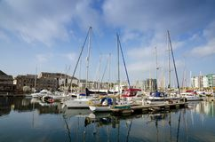 Sutton Harbour Plymouth, England. Beautiful Boats In Sutton Harbour, Plymouth, England In Spring Season On May Royalty Free Stock Images