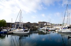 Sutton Harbour Plymouth, England. Beautiful Boats In Sutton Harbour, Plymouth, England In Spring Season On May Stock Images