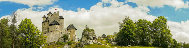 Beautiful Bobolice castle in spring time, Poland. Panorama of ruins of the Polish castle in Bobolice Stock Photo