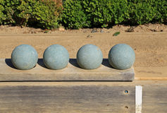 Beautiful Bocce Balls At The Ready Stock Photography