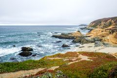 Beautiful Bodega Bay View With Ice Plant stock images