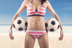 Beautiful body of female soccer fan Royalty Free Stock Photography