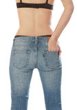 Beautiful body female wearing jeans. Royalty Free Stock Image