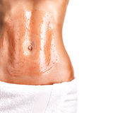 Beautiful body with scrub. On a white background Royalty Free Stock Photos