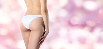 Beautiful body of woman exposing bottom and back side, Isolated Stock Photo