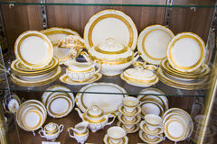 Beautiful bohemian plates at showcase Stock Images