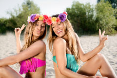 Beautiful bohemian styled and tanned girl. Beautiful bohemian styled and tanned girls at the beach royalty free stock photo