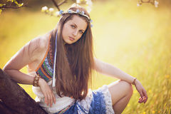 Beautiful bohemian woman portrait Stock Photos
