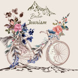 Beautiful boho illustration with bicycle in tribal style. With feathers, flowers and arrows Stock Photo