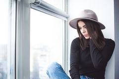 Beautiful boho woman in wool hat Royalty Free Stock Photography